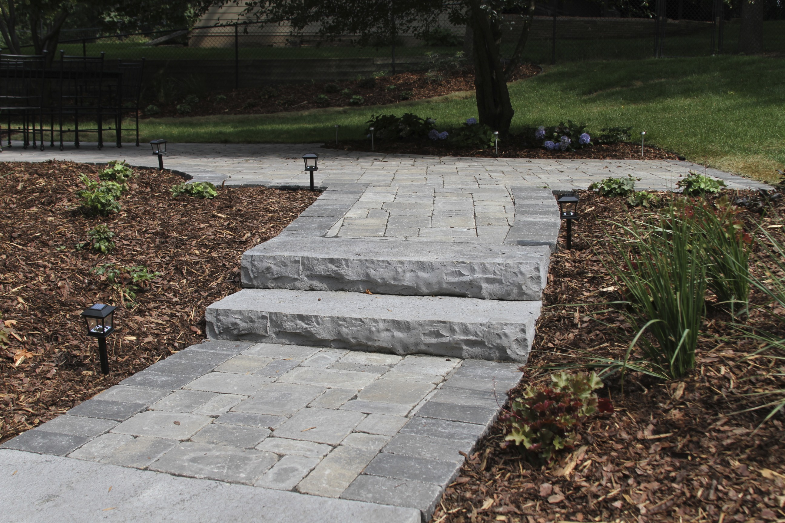 Stone Steps and Block Walkway